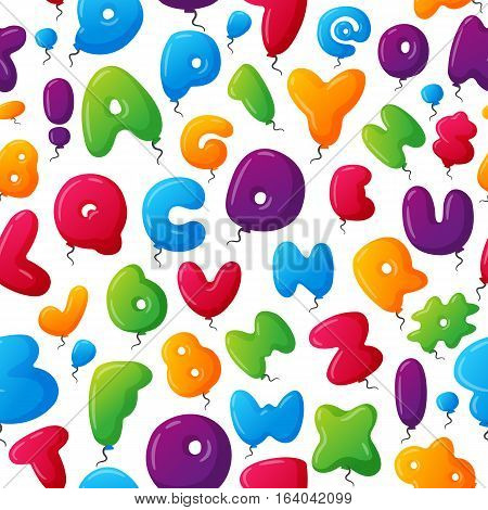 Seamless childish colorful alphabet pattern. Vector illustration fabric ornament grammar study typescript wallpaper. School decoration balloon text texture.