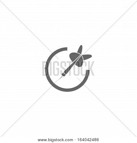 Grey darts icon isolated on a white background.