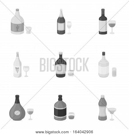 Alcohol set icons in monochrome style. Big collection of alcohol vector symbol stock