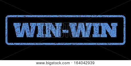 Blue rubber seal stamp with Win-Win text. Vector caption inside rounded rectangular banner. Grunge design and unclean texture for watermark labels. Horisontal emblem on a black background.
