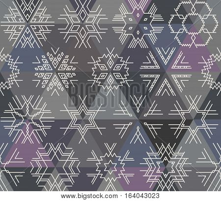 Seamless vector linear geometric pattern of white snowflakes triangles on background. Hipster style, blue, gray and purple shades.