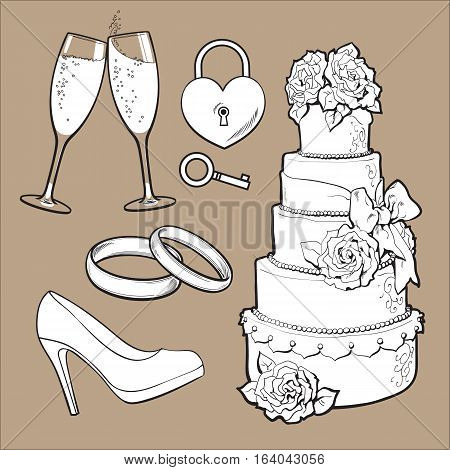 Set of wedding icons - cake, rings, glasses of champagne and lock with a key, sketch style illustration isolatedon brown background. Realistic hand drawing of wedding objects, symbols, elements