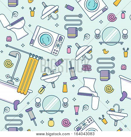 Bath equipment colorful seamless pattern . Packagene template with flat  outline symbols of mirror, bath, toilet, sink, shower. Vector illustration for web sites, shops or bathroom interior designs.