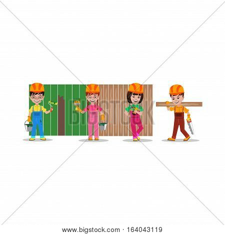 kids builders characters vector illustration. Happy occupation profession flat children. Colorful teenager engineer architect. construction job people.