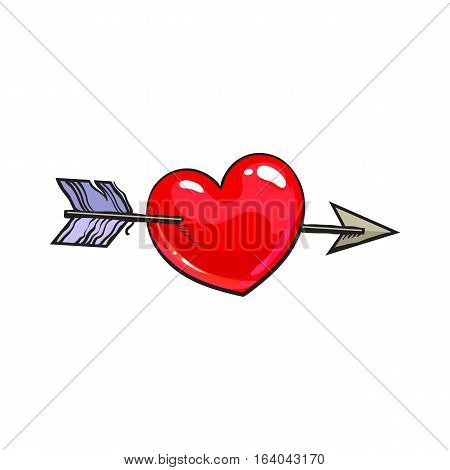 Red shiny cartoon heart pieced by Cupid arrow, sketch style illustration isolated on white background. Heart pierced by arrow, symbol of love, romance and passion, marriage icon