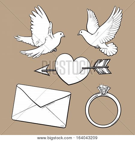 Wedding, engagement icon set with doves, arrow pierced heart, ring and love letter, sketch style vector illustration isolated on brown background. Wedding attributes - doves, ring, heart, kiss
