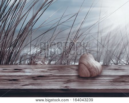 Still life at the sea on a wooden board in front of dune grass for mothers day and valentines day