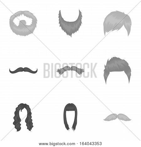 Beard set icons in monochrome style. Big collection of beard vector symbol stock