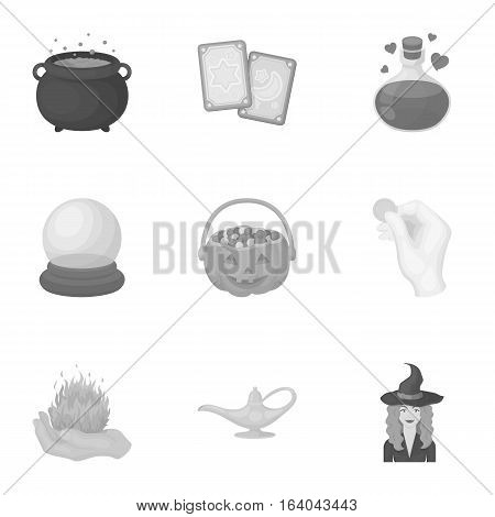 Black and white magic set icons in monochrome style. Big collection of black and white magic vector symbol stock