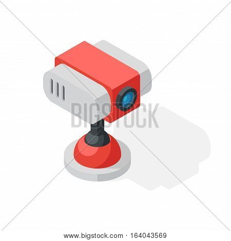 Office equipment web camera isometric vector symbols isolated on white. Business modern illustration flat technology workstation. Cabinet tool house industry object.