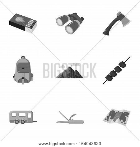 Camping set icons in monochrome design. Big collection of camping vector symbol stock illustration