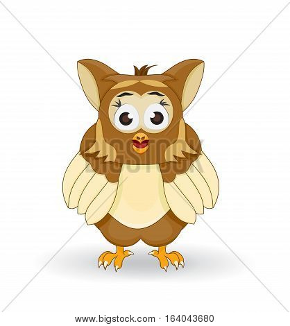 illustration of cartoon owl facing front and stare