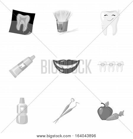 Dental care set icons in monochrome design. Big collection of dental care vector symbol stock illustration