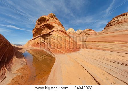Water and reflections in the Desert of The Wave Coyote Buttes Paria Canyon-Vermilion Cliffs Wilderness, Utah, United States of America