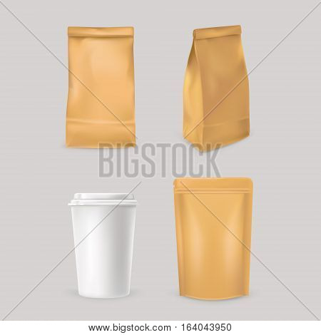 Set of vector icons for fast food packaging - paper bags and styrofoam cup. Ready for your design.