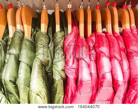 Topcoat green and pink on clothes line for sale in the market worldwide
