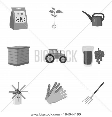 Farm set icons in monochrome style. Big collection of farm vector symbol stock