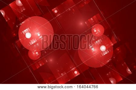 Futuristic red glowing technology fractal computer generated abstract background 3D render