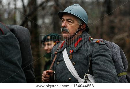 BUCHAREST ROMANIA - DECEMBER 1 2010: A soldier is taking part to a military parade on National Day of Romania. More than 3000 soldiers and personnel from security agencies take part in the massive parades on National Day of Romania.