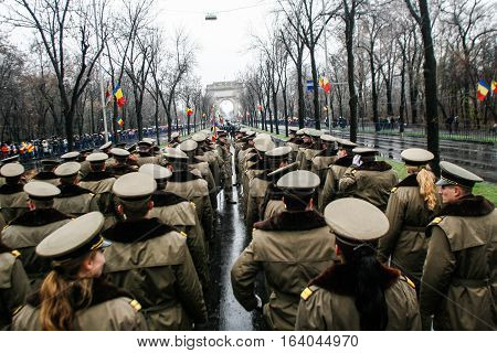 BUCHAREST ROMANIA - DECEMBER 1 2010: Military are taking part to a military parade on National Day of Romania. More than 3000 soldiers and personnel from security agencies take part in the massive parades on National Day of Romania.