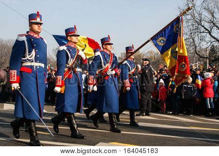 BUCHAREST ROMANIA - DECEMBER 1 2013: Military are taking part to a military parade on National Day of Romania. More than 3000 soldiers and personnel from security agencies take part in the massive parades on National Day of Romania.