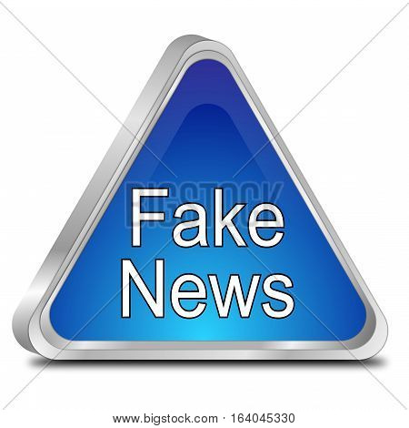 blue Fake News warning sign - 3D illustration
