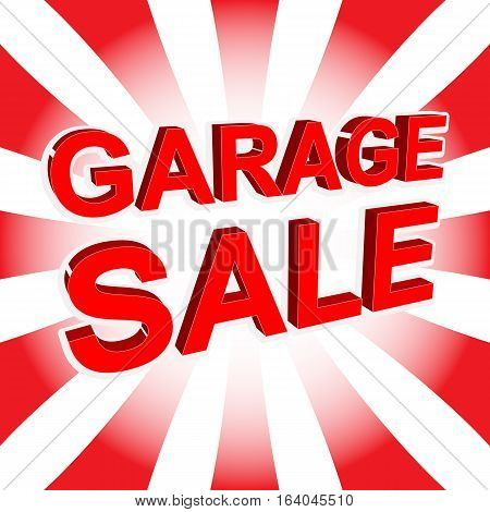 Red Sale Poster With Garage Sale Text. Advertising Banner