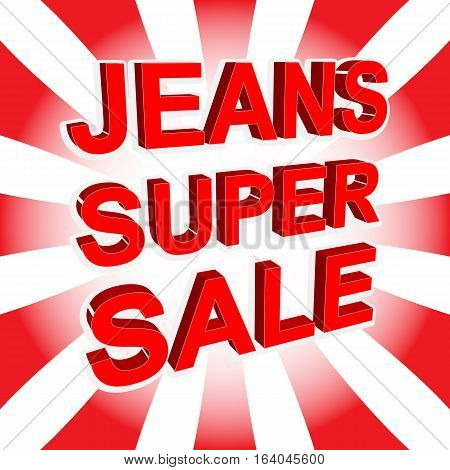 Red Sale Poster With Jeans Super Sale Text. Advertising Banner