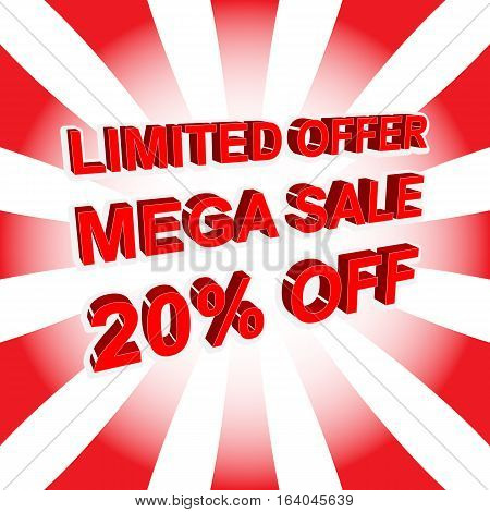 Red Sale Poster With Limited Offer Mega Sale 20 Percent Off Text. Advertising Banner