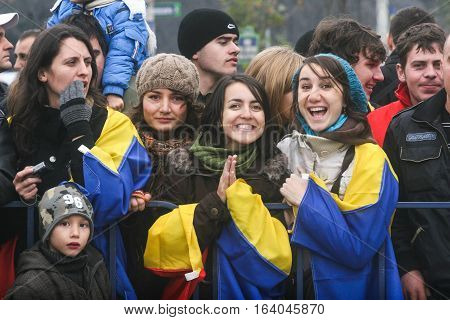 BUCHAREST ROMANIA - DECEMBER 1 2009: Young people are taking part to a military parade on National Day of Romania. More than 3000 soldiers and personnel from security agencies take part in the massive parades on National Day of Romania.