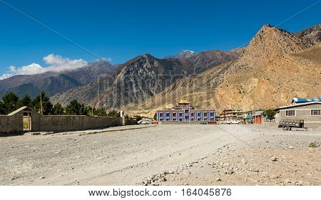 Colorful buddhist monastery. Jomsom, Mustang distric in Nepal