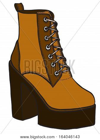 boot illustration in sketch style. Vector isolated on white