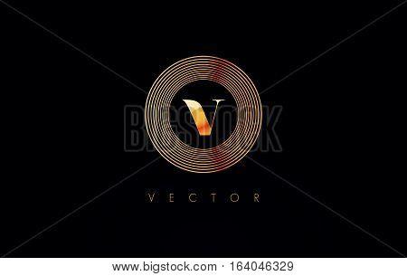 Circle V Logo. V Letter Circular Design Vector with golden metal colors.