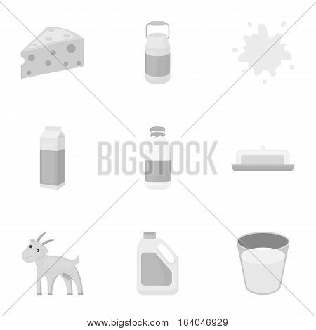Milk set icons in monochrome style. Big collection of milk vector symbol stock