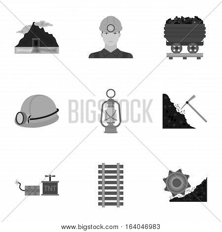 Mine set icons in monochrome style. Big collection of mine vector symbol stock