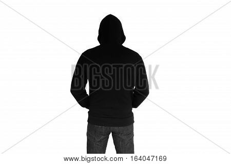 Back view of man wearing hoodies isolated on white background