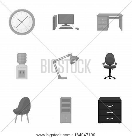 Office furniture and interior set icons in monochrome design. Big collection of office furniture and interior vector symbol stock illustration