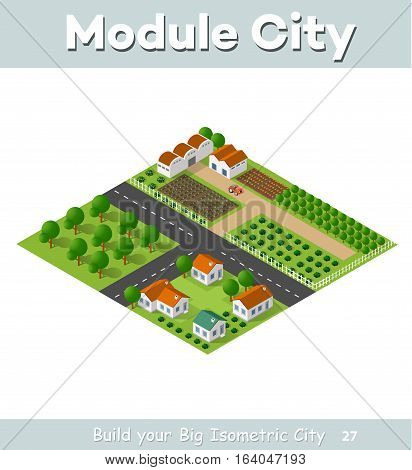 Country village of townhouses and rural houses with roads streets trees in an isometric view and a garden