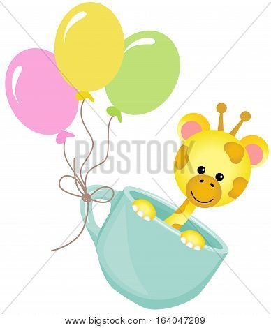 Scalable vectorial image representing a cute giraffe in teacup with balloons, isolated on white.