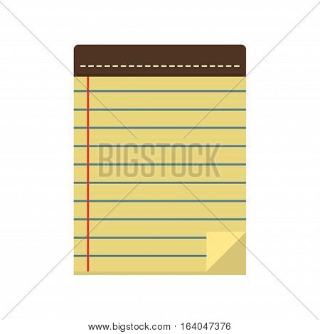 Icon paper notepad or pad line in the flat style. Blank notebook for to-do lists notes and plans. Office and business equipment.