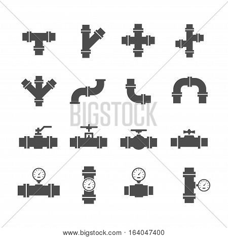 Vector icon set pipe parts. Simple silhouettes of tubes valves taps and pipe connectors. Pipeline and sewer systems.