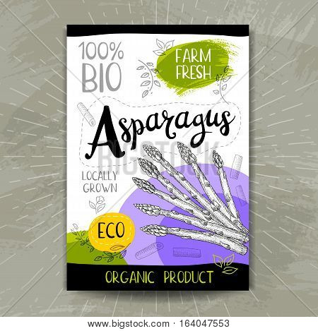 Colorful label in sketch style, food, spices, textured background. Asparagus. Naturally fresh. eco, bio, vegan food, sticker. Hand drawn vector illustration.