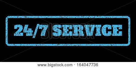 Light Blue rubber seal stamp with 24-7 Service text. Vector message inside rounded rectangular shape. Grunge design and dust texture for watermark labels. Horisontal sticker on a black background.