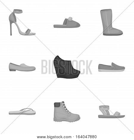 Shoes set icons in monochrome style. Big collection of shoes vector symbol stock