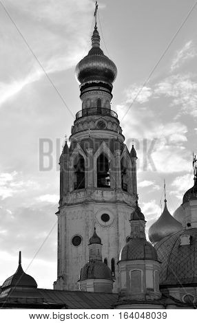 Silhouette of bell tower of Sophia Cathedral - Orthodox church now a museum in Vologda Russia. Erected in 1568 - 1570 years on the orders of Ivan the Terrible. Black and white.