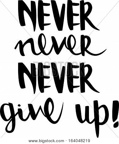 text - ''never never never give up'' Modern brush calligraphy. Handwritten ink lettering. Hand drawn vector elements. Isolated on white background. Hand drawn lettering element for your design.