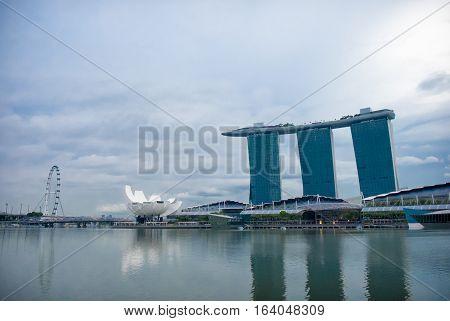 Singapore City Singapore - October 30 2016- Marina Bay skyline and urban landscape of Singapore