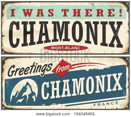 Chamonix Mont Blanc retro souvenir sign idea from one of the most popular winter holiday destinations. Vintage vector illustration.