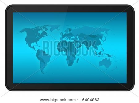 Touch screen digital tablet with world map. Include 3 clipping path (outer inner blue inner black) isolated on white. XXL size ultra quality. Reference map: www.cia.gov poster