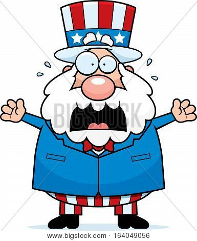 Cartoon Patriotic Man Panicking